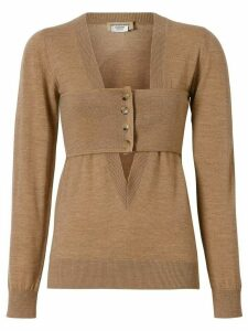 Burberry Button Panel Detail Merino Wool V-neck Sweater - Brown