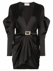 Alexandre Vauthier puffed shoulder plunge mini-dress - Black