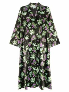Bernadette Sofia Small Roses-print satin coat - Black