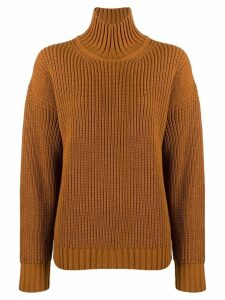 MSGM turtleneck ribbed jumper - Brown