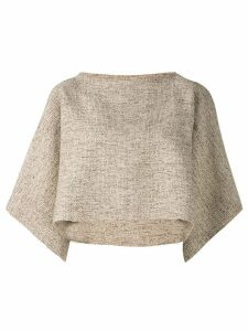 Voz tattoo crop top - Brown