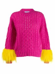 Prada feathered sleeve jumper - Pink