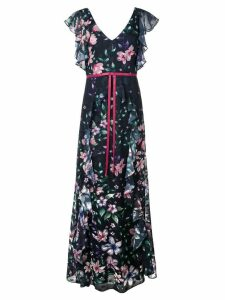 Marchesa Notte floral print dress - Blue