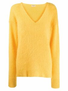 Miu Miu mohair v-neck jumper - Yellow