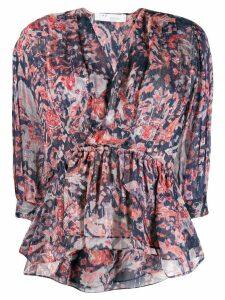 IRO Saola printed ruffle blouse - Blue