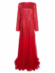 Oscar de la Renta long-sleeved gown with degradé sequins - Red