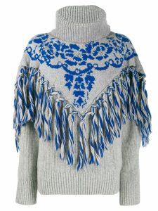 Sacai fringe detail knit jumper - Grey