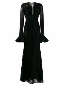 David Koma striped longsleeved dress - Black
