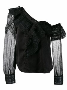 Self-Portrait cold shoulder lace blouse - Black