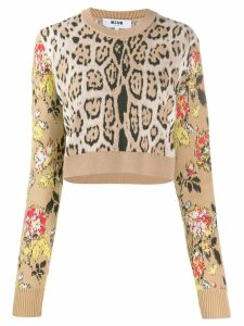 MSGM leopard print cropped sweater - NEUTRALS