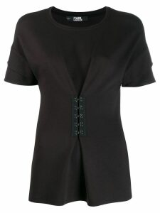 Karl Lagerfeld peplum T-shirt with hook & eye detailing - Black