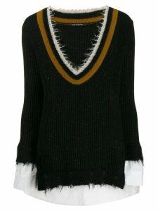 Luisa Cerano frayed V-neck jumper - Black