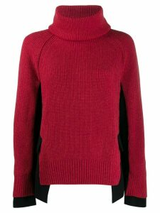 Sacai high neck hybrid sweater - Red