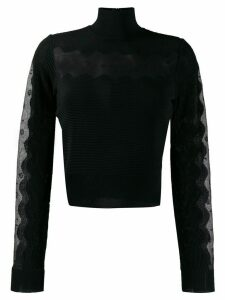 Alexander McQueen sheer panel turtleneck jumper - Black