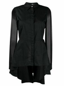 Karl Lagerfeld high-low poplin shirt - Black