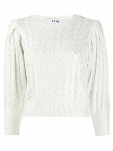 MSGM cropped cable-knit sweater - SILVER