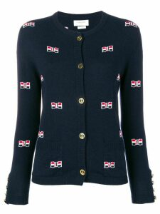 Thom Browne Bow Intarsia Cashmere Cardigan - Blue