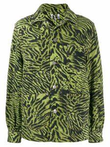 GANNI tiger print shirt jacket - Green