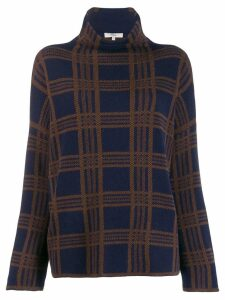 Vince plaid funnel neck sweater - Blue