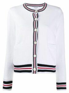 Thom Browne striped hem cardigan - White