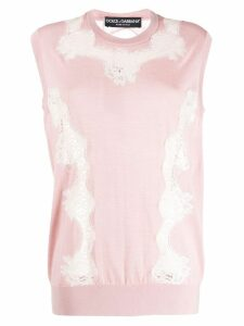 Dolce & Gabbana lace panel sleeveless top - PINK
