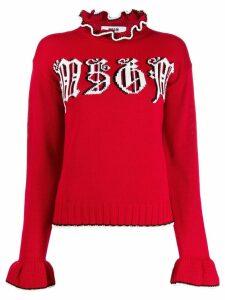 MSGM ruffle trimmed sweatshirt - Red
