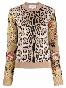 MSGM leopard print sweatshirt - Brown