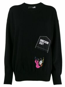 Love Moschino aviator doll patch jumper - Black