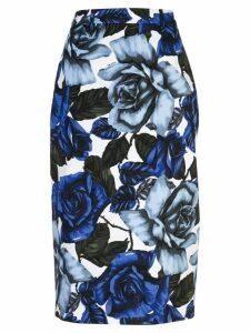 Prada floral print pencil skirt - Blue