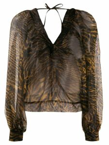 GANNI sheer blouse - Brown