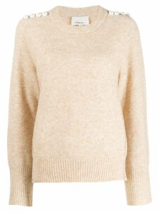 3.1 Phillip Lim pearl shoulder sweater - Neutrals