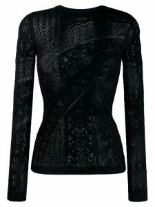 Roberto Cavalli long sleeve lace top - Black