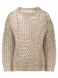 Brunello Cucinelli sparkling net sweater - NEUTRALS