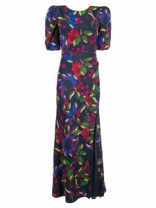 Saloni floral print maxi dress - Blue