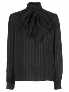 Saint Laurent striped lavallière tie blouse - Black