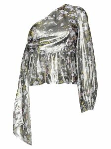 GANNI one-shoulder floral top - Metallic