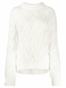 Brunello Cucinelli oversized cable knit sweater - White