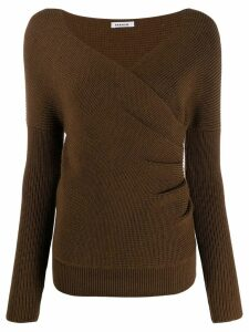 P.A.R.O.S.H. draped V-neck jumper - Brown
