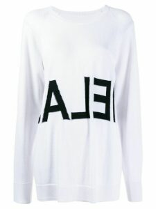 Mm6 Maison Margiela logo intarsia jumper - White