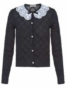 Miu Miu lace collar cardigan - Blue