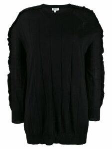Kenzo longline ruffle trim sweater - Black