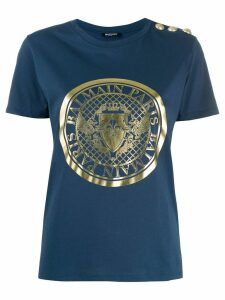 Balmain medallion print T-shirt - Blue
