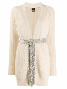 Pinko ribbed knit longline cardigan - NEUTRALS
