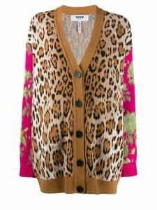 MSGM leopard floral intarsia cardigan - Brown