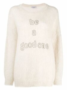 Brunello Cucinelli studded slogan jumper - Neutrals