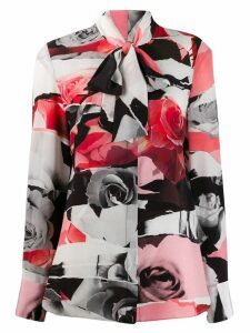 Alexander McQueen Torn Rose print blouse - Black