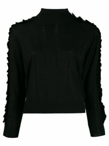 Kenzo ruffle trim roll neck sweater - Black