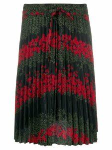RedValentino floral print pleated skirt - Black