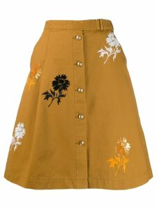 Tory Burch embroidered denim skirt - Brown