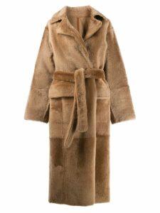 Yves Salomon Lacon lambskin coat - NEUTRALS